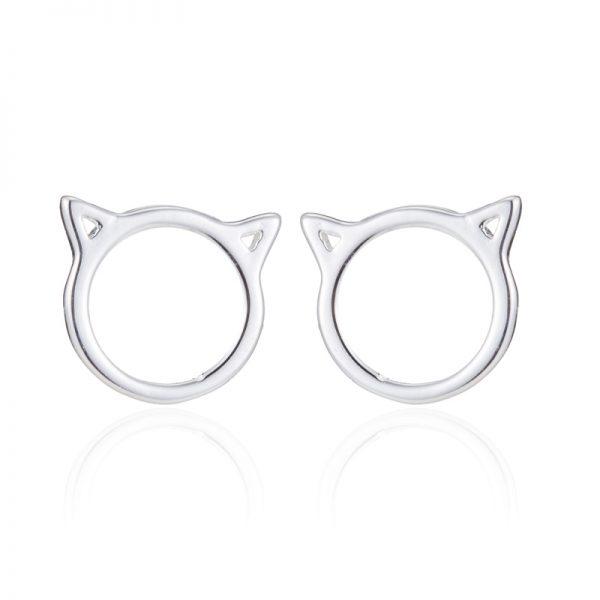 zilveren kattenoorbellen minimalistisch catmom nl cadeau voor catlover kattenliefhebber sterling silver 925 minimalistische oorbel