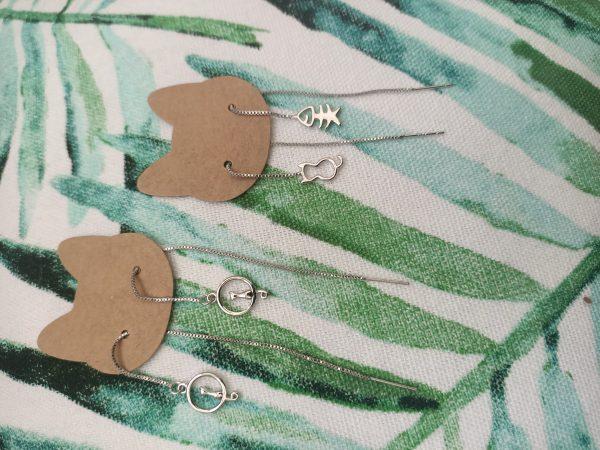 catmom oorbellen threader kat zilver 925 sterling silver cat moon earrings