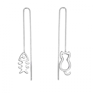 Zilveren pull trough oorbellen met kat en vis asymmetrische minimalistische 925 zilveren katten oorbellen cat fish theader earrings silver