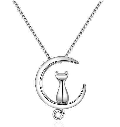 Cat moon necklace 925 sterling silver kat op maan kattenketting 929 zilver necklace layering