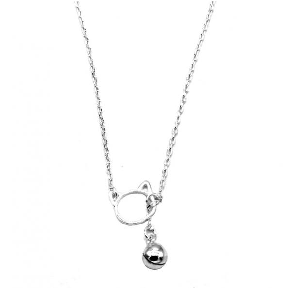 zilveren minimalistische katten ketting 925 sterling silver cat head necklace