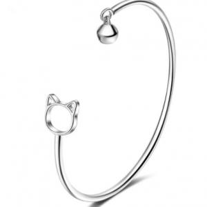 zilveren bangle armband kat cat bracelet