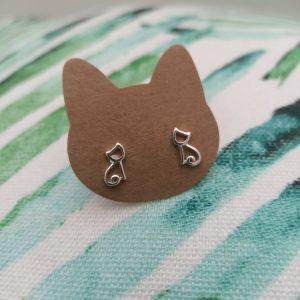 kleine zilveren katten oorbellen meisjesoorbellen 925 zilver poezen oorbellen
