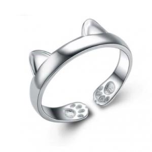 Zilveren ring paws ears 925 sterling silver ring oortjes pootjes kattenring poezenring