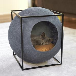 meyou paris the cube dark grey design kattenmand bestellen uniek hip kattenmeubel kopen kattenwebshop catmom.nl