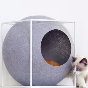meyou paris the cubplight grey licht grijze design kattenmand bestellen uniek hip kattenmeubel kopen kattenwebshop catmom.nl