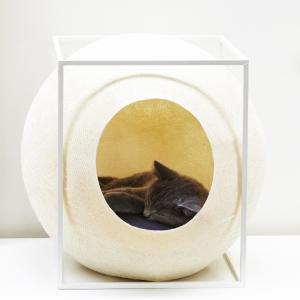meyou paris the cubplighchampagne wit witte design kattenmand bestellen uniek hip kattenmeubel kopen kattenwebshop catmom.nl