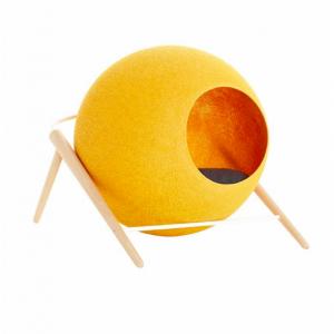 The ball meyou paris luxe kattenmand kopen stijlvolle katten mand bestellen krabmeubel kattenwebshop catmom.nl pollen geel gele